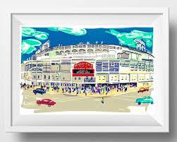 wrigley field art print sports fan