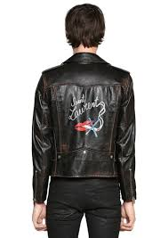 yves saint lau no smoking print vintage leather jacket