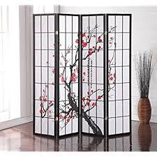 room divider furniture. Roundhill Furniture Black Japanese 4-Panel Screen Room Divider, Plum Blossom Divider
