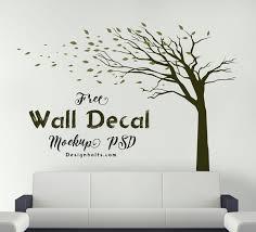 free vinyl sticker wall decal mockup