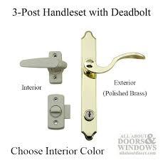 3 post storm door handle set br exterior lever with interior latch deadbolt lock tan
