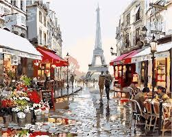 paris street eiffel tower city scenery art diy oil painting by numbers