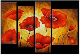 4 panel large modern abstract wall art handmade red poppy flower picture canvas oil painting for home decoration in painting calligraphy from home