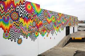 chromatic cascade mural at 1825 conway place in the arts district los angeles  on wall mural artist los angeles with public art jen stark