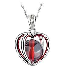garnet jewelry garnet heart necklace january birthstone garnet necklace