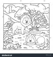 Coloring Book Lion Colorless Alphabet Children Stock Vector