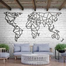 new metal wall art world map xl