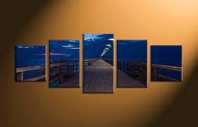 Small Picture 5 Piece Blue Ocean Bridge Canvas Photography
