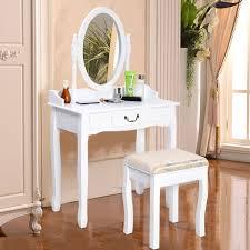 Mirrored Bedroom Vanity White Vanity Makeup Dressing Table With Rotating Mirror Bedroom