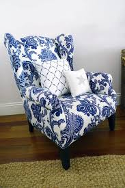 blue and white chair. Wing Chair Upholstered In A Blue And White Jacobean Print
