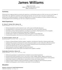 Dental Resumes Samples Dental Resume Samples Resume Cv Cover