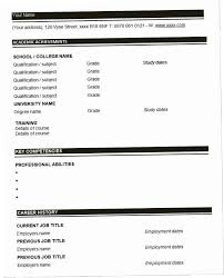 Blank Resume Form Fascinating Resume Blank DJV40 40 Blank Resume Templates Free Samples