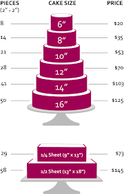 Cake Size And Price Chart Buttercream Cakes Premium Flavors Creme Cakery