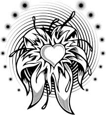 coloring page of a flower heart tattoo with a spiral - Coloring Point