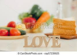 Amour Bois Rustique Lettre Table Cuisine