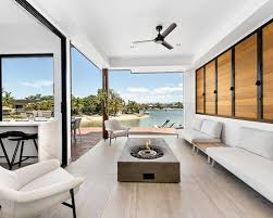contemporary sunroom furniture. Design Ideas For A Contemporary Sunroom In Gold Coast - Tweed With Porcelain Floors, Grey Furniture