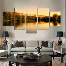 mountain art work promotion shop for promotional mountain art work beautiful autumn tree lakes and mountains 5 panels set hd the picture canvas print painting art work decorative painting