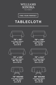 Round Table Linen Chart Tablecloth Size Calculator Williams Sonoma Taste