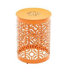 trellis orange metal garden stool