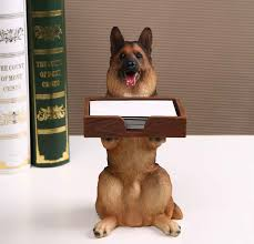 dog desk business card holder