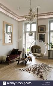 Zebra Rug Living Room Eero Aarnio Bubble Chair In Living Room With Zebra Skin Rug And