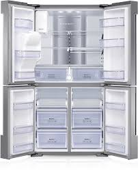 refrigerator inside empty. a image of family hub full open without food. buttons for 5 additional features to refrigerator inside empty l