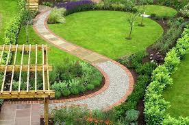 garden pathway. Intriguing Garden Deign With Pergola And Curvy Pathway Design