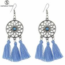 Dream Catcher Earings Impressive Bohemian Dream Catcher Earrings Women Pink Blue Tassel Drop Earring
