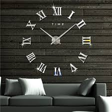 large modern design frameless diy wall clock 3d mirror sticker art decor silver