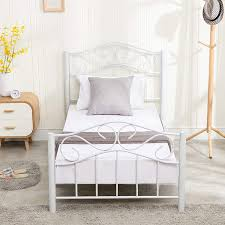 Mecor Twin Curved Metal Bed Frame/Mattress Foundation/Platform Bed for Kids Girls Boys Adults with Steel Headboard Footboard,No Box Spring ...