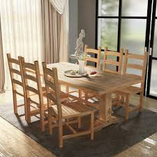 picture 1 of 11 picture 2 of 11 picture 3 of 11 picture 4 of 11 8 vidaxl seven piece mive wooden dining table and chair kitchen home set