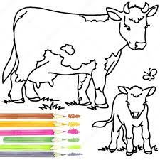 coloring book cow and calf cow outline drawing cow and calf cartoon drawing photo by dobrynina art