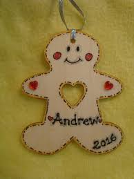 personalised wooden gingerbread man boy tree hanger decoration shabby chic any name year