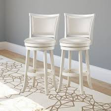 White Wood Counter Height Stools Set Of 4 Bar Stools Metal Swivel