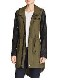 blank nyc blank nyc womens hooded faux leather trim anorak jacket com