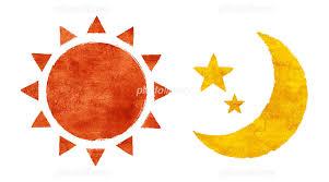 カットイラストデザイン素材集月と太陽とキャッスルカラフル イラスト
