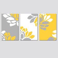 yellow gray and white wall art