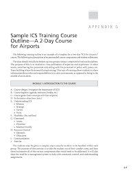 Appendix G Sample Ics Training Course Outline A 2 Day Course For