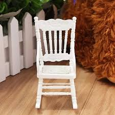 white wooden rocking chair. Dollhouse Miniature Furniture White Wooden Rocking Chair Hemp Rope Seat New 1:12 S