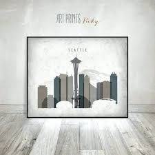 wall arts wall art seattle trendy ideas unique canvas skyline cozy print poster office decor travel