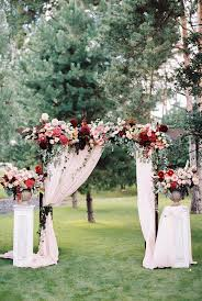 gorgeous marsala burdy and pink fl outdoor wedding arch ideas