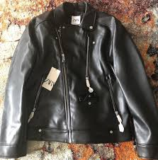 men s brand new zara leather biker jacket black sz xl