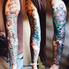 фото татуировки морской рукав в стиле олд скул традишнл татуировки