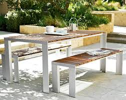 modern outdoor table and chairs. Looking For A Cool, Unique Miami-style Outdoor Table With Bench Seating. This One Is Teak, (bleaches In The Tropical Sun), But I Like White Legs! Modern And Chairs S