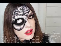 easy skull and brain makeup tutorial 2016