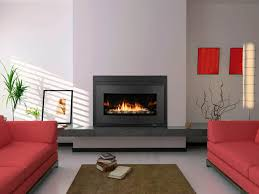 ... Engaging Home Interior Decoration With Long Gas Fireplace : Comely Grey  And Red Living Room Decoration ...