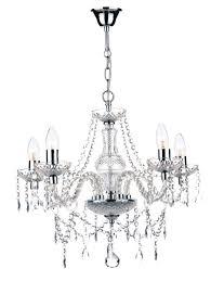 katie 5 light polished chrome crystal chandelier