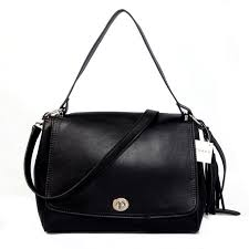 Coach Turnlock Medium Black Shoulder Bags AYQ