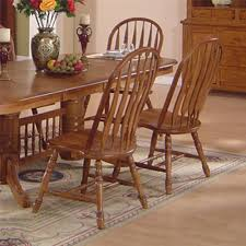Solid Oak Dining Table & Arrowback Chair Set by E C I Furniture