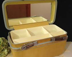 cosmetics bag vine samsonite train case yellow or gold travel trunk w mirror and inner tray